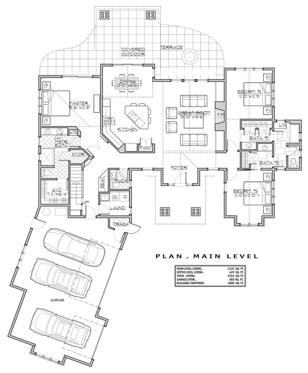 Craftsman Floor Plan - Main Floor Plan Plan #892-29