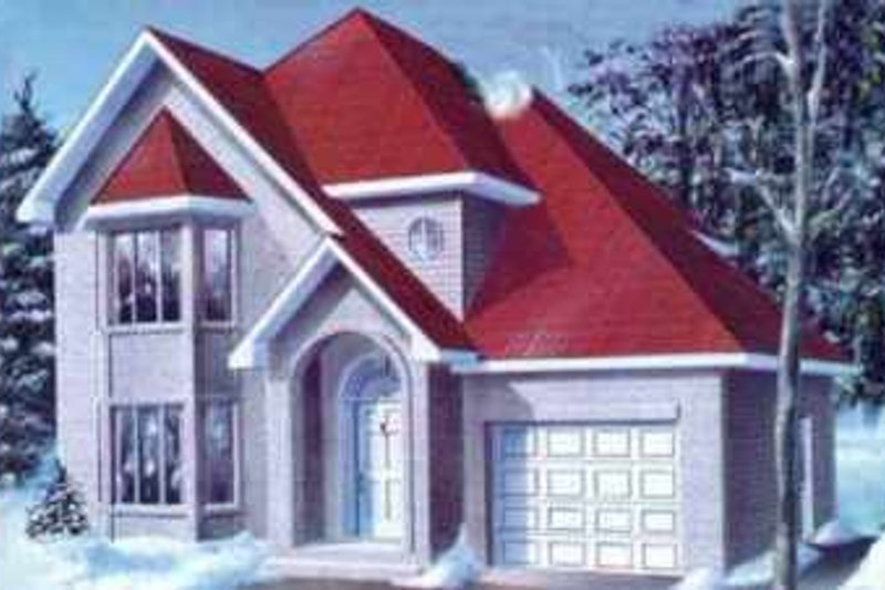 European Style House Plan - 3 Beds 2.5 Baths 1858 Sq/Ft Plan #25-2257 Exterior - Front Elevation