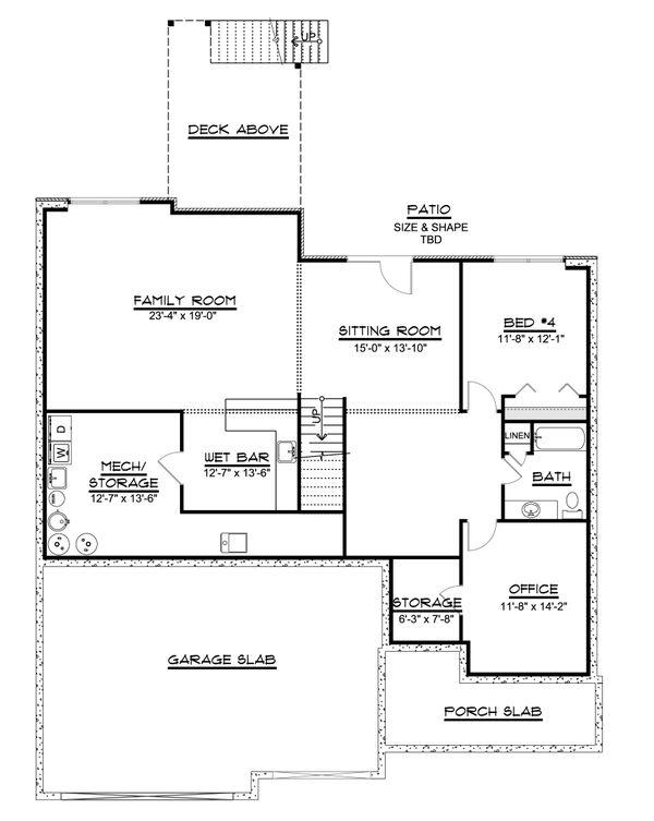 Dream House Plan - Ranch Floor Plan - Lower Floor Plan #1064-70