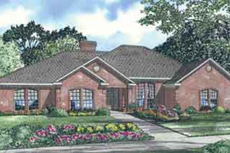 European Style House Plan - 4 Beds 2.5 Baths 2392 Sq/Ft Plan #17-135 Exterior - Front Elevation