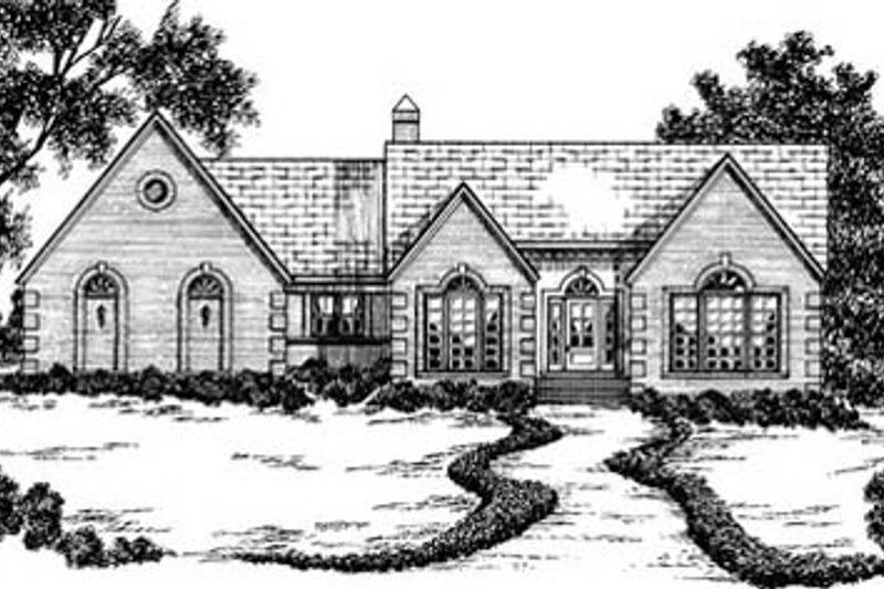 European Style House Plan - 3 Beds 2 Baths 2014 Sq/Ft Plan #36-184 Exterior - Front Elevation
