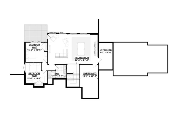 Modern Floor Plan - Lower Floor Plan #928-346