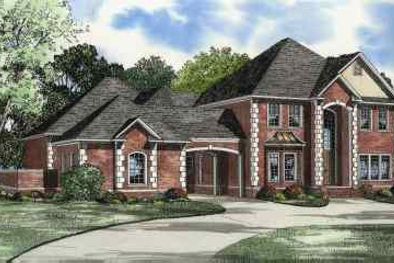 European Style House Plan - 4 Beds 4 Baths 4334 Sq/Ft Plan #17-568 Exterior - Front Elevation