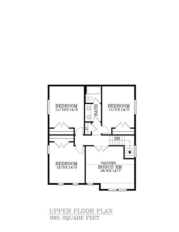 Craftsman Floor Plan - Upper Floor Plan Plan #53-586