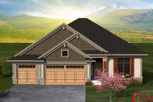 Ranch Exterior - Front Elevation Plan #70-1188