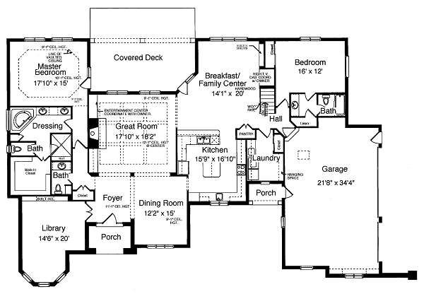 Traditional Floor Plan - Main Floor Plan Plan #46-397