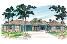 Ranch Exterior - Front Elevation Plan #124-472
