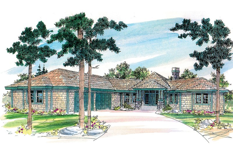 Ranch Exterior - Front Elevation Plan #124-472 - Houseplans.com