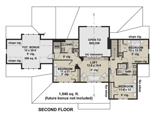 Farmhouse Floor Plan - Upper Floor Plan Plan #51-1155