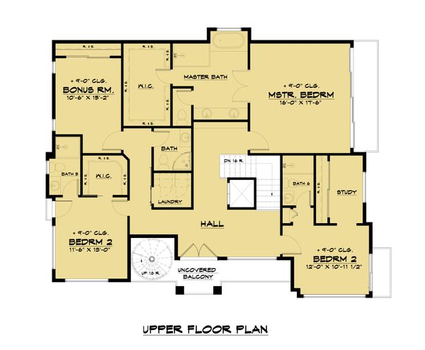 Architectural House Design - Modern Floor Plan - Upper Floor Plan #1066-105