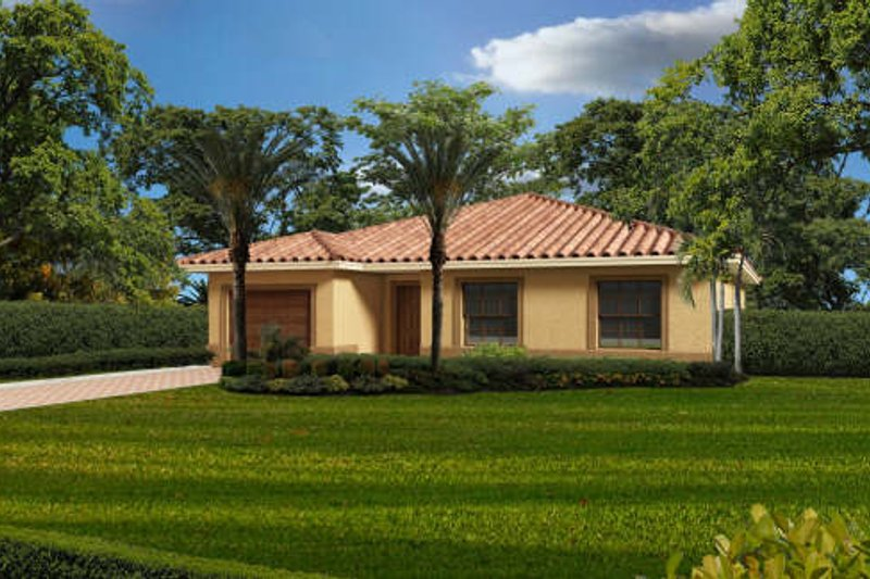 Mediterranean Style House Plan - 3 Beds 2 Baths 1453 Sq/Ft Plan #420-251 Exterior - Front Elevation