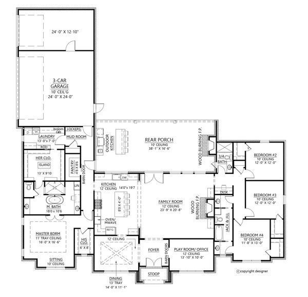 Southern Floor Plan - Main Floor Plan #1074-11