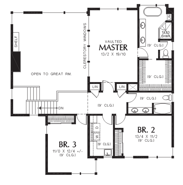 Contemporary Floor Plan - Upper Floor Plan Plan #48-706