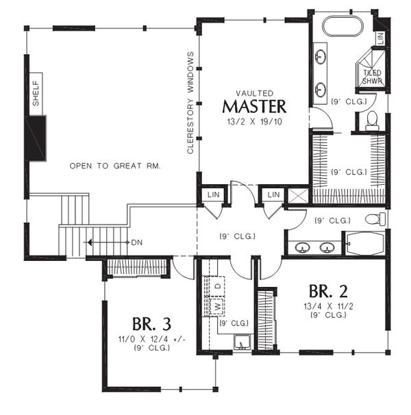 Contemporary Floor Plan - Upper Floor Plan Plan #48-706