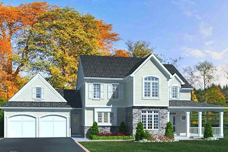 Traditional Style House Plan - 4 Beds 2.5 Baths 2333 Sq/Ft Plan #46-491 Exterior - Front Elevation