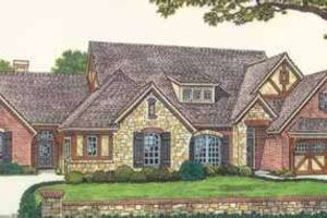 Tudor Exterior - Front Elevation Plan #310-464