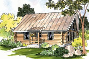 Log Exterior - Front Elevation Plan #124-390