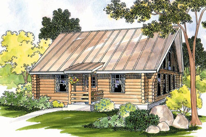 Log Style House Plan - 1 Beds 1 Baths 960 Sq/Ft Plan #124-390 Exterior - Front Elevation