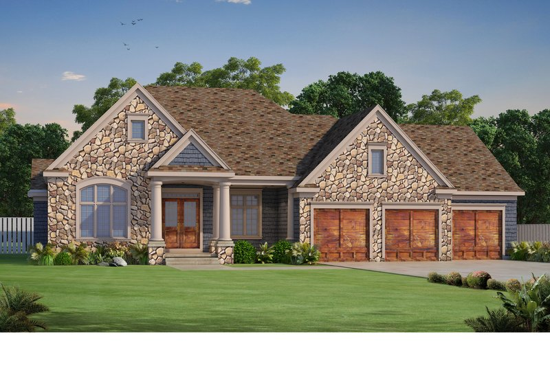 Architectural House Design - Craftsman Exterior - Front Elevation Plan #20-2454