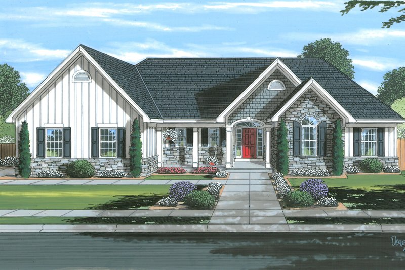 Architectural House Design - Traditional Exterior - Front Elevation Plan #46-903