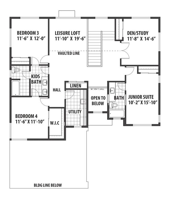 Contemporary Floor Plan - Upper Floor Plan Plan #569-36