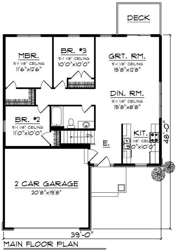 Ranch Floor Plan - Main Floor Plan Plan #70-1258