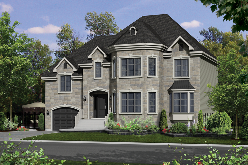 European Style House Plan - 4 Beds 2 Baths 2330 Sq/Ft Plan #25-4418 Exterior - Front Elevation