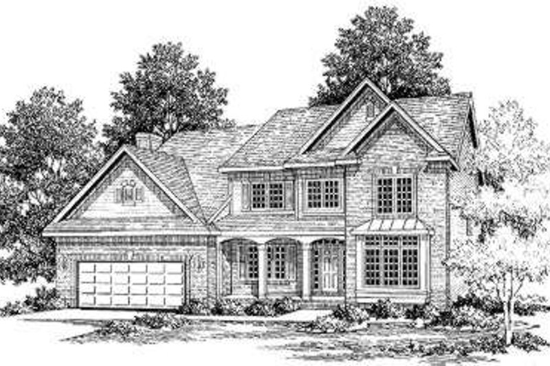 Traditional Style House Plan - 4 Beds 3.5 Baths 2900 Sq/Ft Plan #334-107 Exterior - Front Elevation