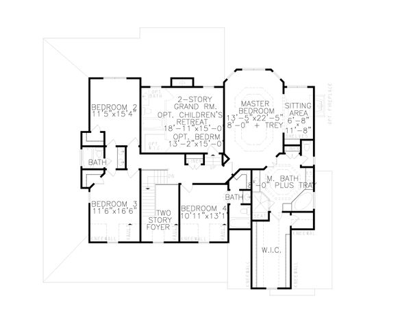 Farmhouse Floor Plan - Upper Floor Plan Plan #54-379