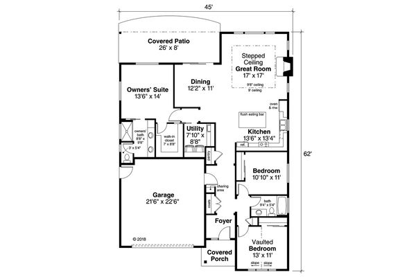 House Plan Design - Ranch Floor Plan - Main Floor Plan #124-1186