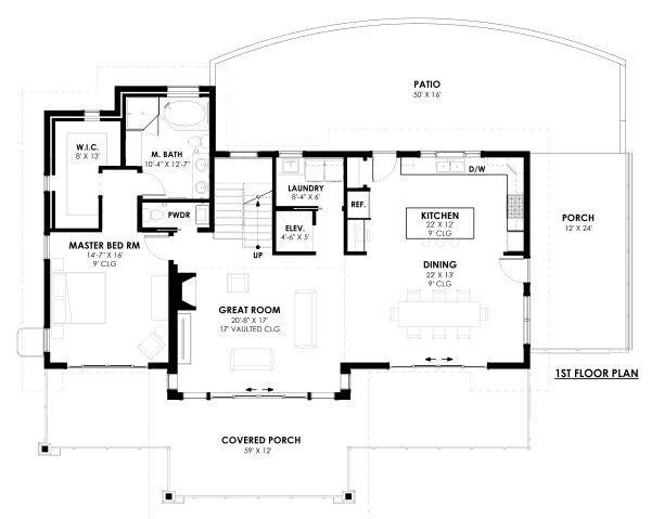 Modern Floor Plan - Main Floor Plan Plan #1042-20
