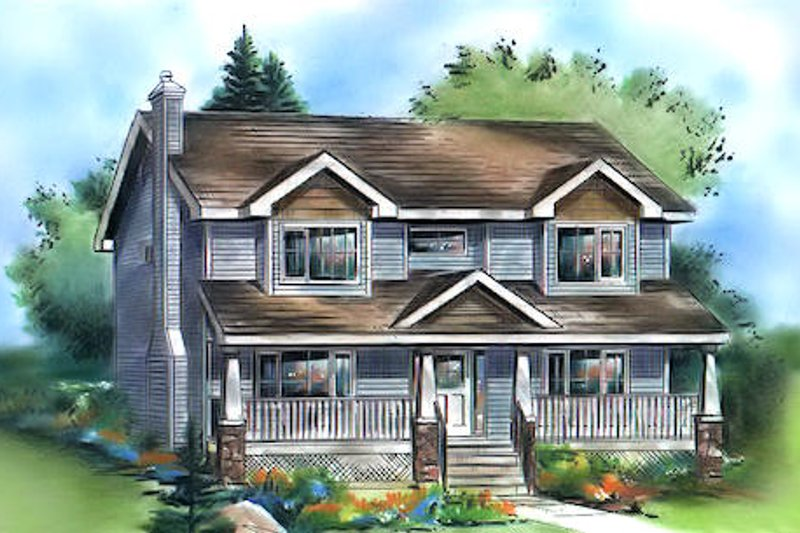 House Blueprint - Traditional Exterior - Front Elevation Plan #18-286