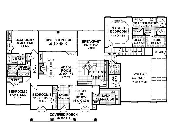 Southern Floor Plan - Main Floor Plan Plan #21-216