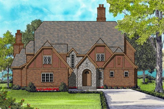 European Exterior - Front Elevation Plan #413-866