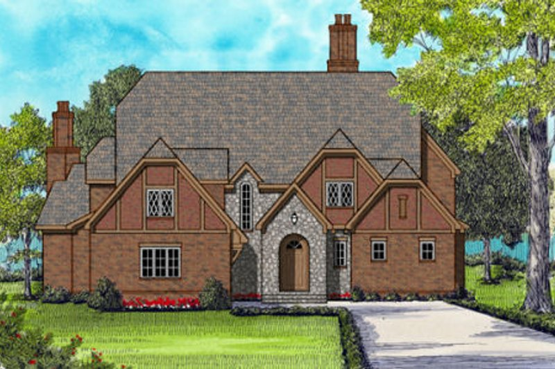 European Style House Plan - 4 Beds 5.5 Baths 6280 Sq/Ft Plan #413-866 Exterior - Front Elevation
