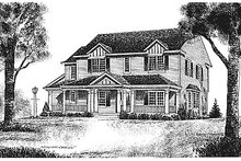 Southern Exterior - Front Elevation Plan #70-326