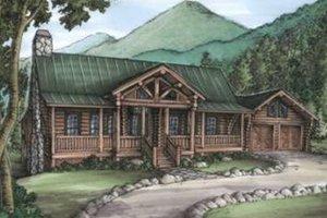 Log Exterior - Front Elevation Plan #115-156
