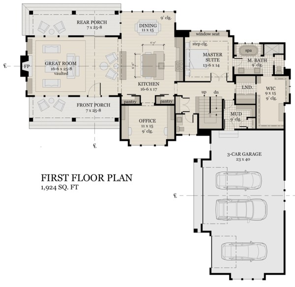 Farmhouse Floor Plan - Main Floor Plan Plan #51-1145