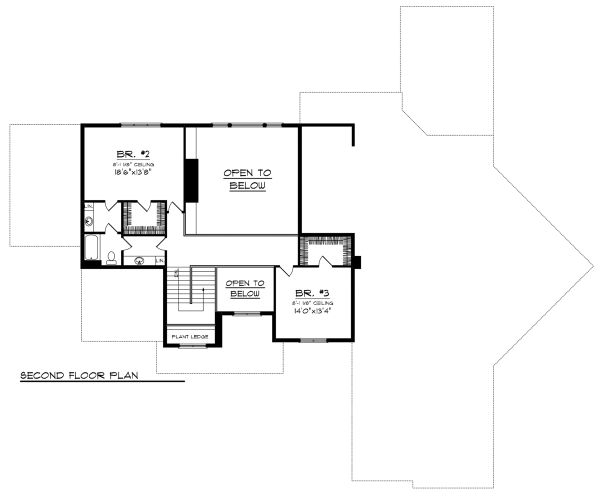 Traditional Floor Plan - Upper Floor Plan Plan #70-1147