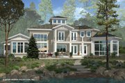 Contemporary Style House Plan - 3 Beds 3.5 Baths 4560 Sq/Ft Plan #930-506 Exterior - Rear Elevation