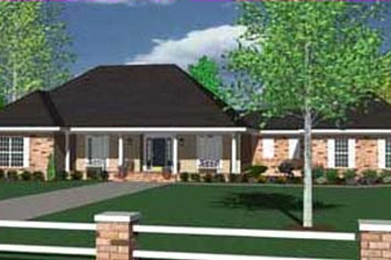 Ranch Style House Plan - 3 Beds 3.5 Baths 2862 Sq/Ft Plan #36-477 Exterior - Front Elevation