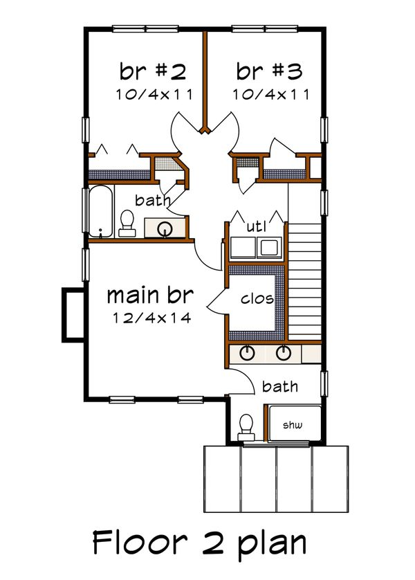 Modern Floor Plan - Upper Floor Plan Plan #79-293