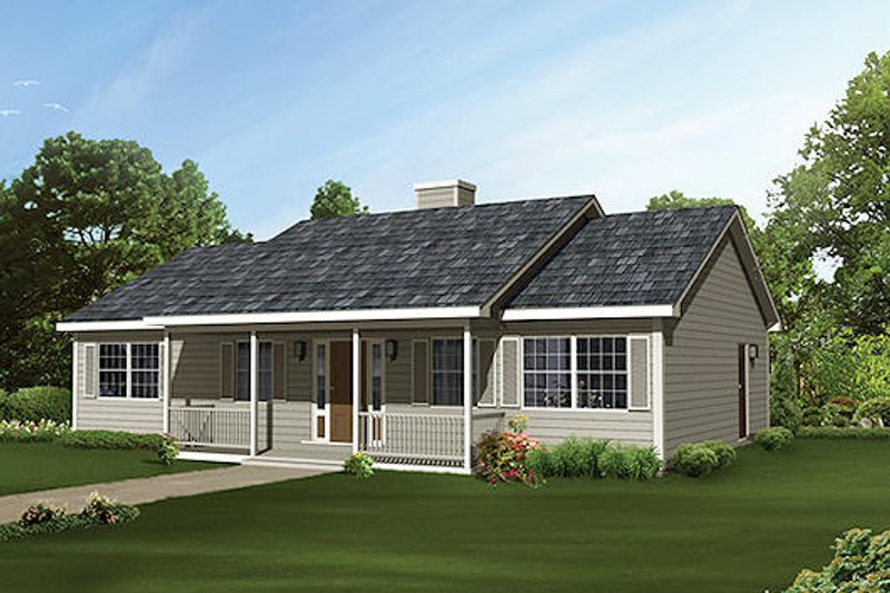 Ranch Style House Plan - 3 Beds 2 Baths 1364 Sq/Ft Plan #57-449 Exterior - Front Elevation