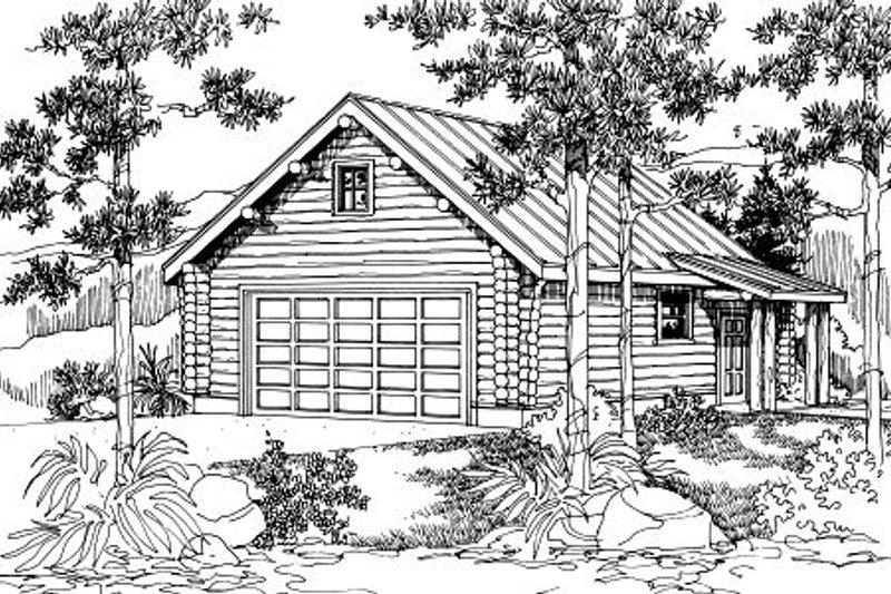Log Exterior - Front Elevation Plan #124-651