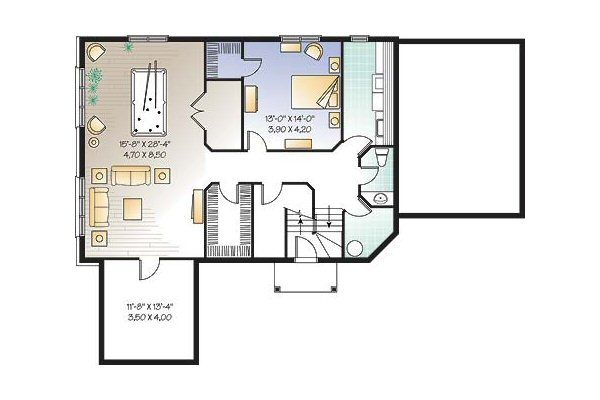 Cottage Floor Plan - Lower Floor Plan Plan #23-675