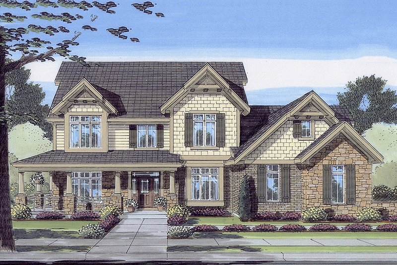 Dream House Plan - Craftsman Exterior - Front Elevation Plan #46-442