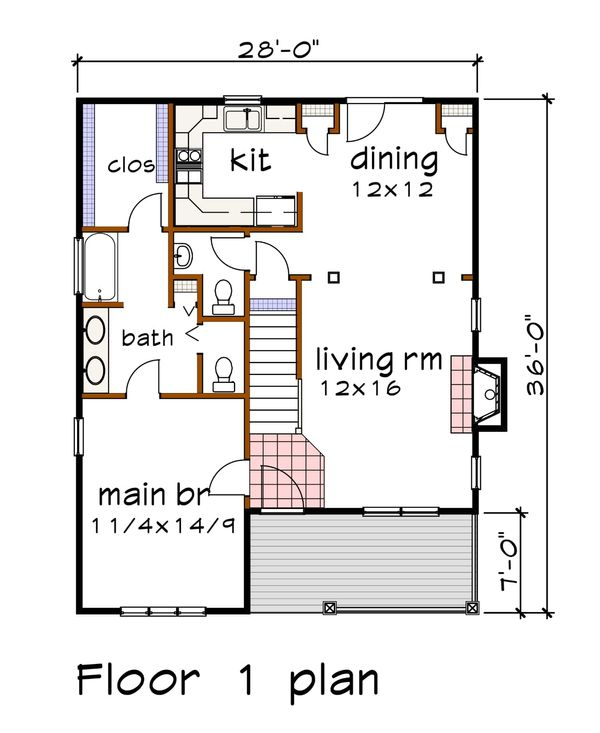 Craftsman Floor Plan - Main Floor Plan #79-299