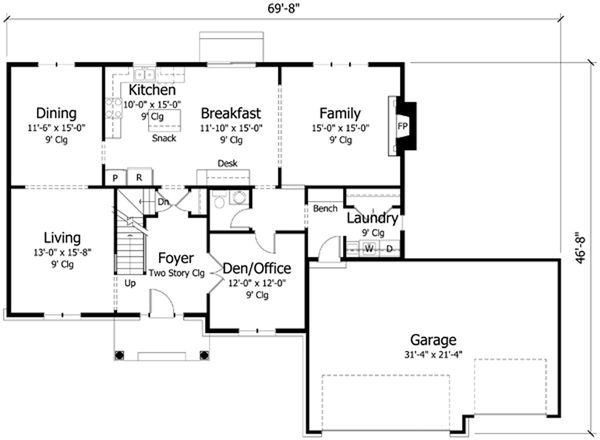 Traditional Floor Plan - Main Floor Plan Plan #51-392