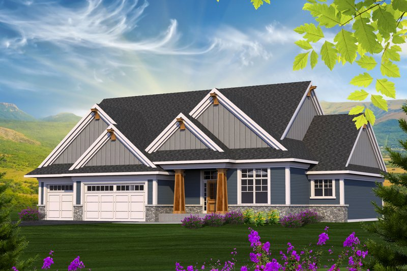 Craftsman Style House Plan - 3 Beds 2 Baths 2154 Sq/Ft Plan #70-1215 Exterior - Front Elevation