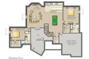 Craftsman Style House Plan - 3 Beds 3.5 Baths 4510 Sq/Ft Plan #1057-17 Floor Plan - Lower Floor